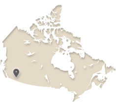 Map of Canada showing Kelowna