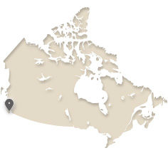 map of Canada showing Victoria, B.C.