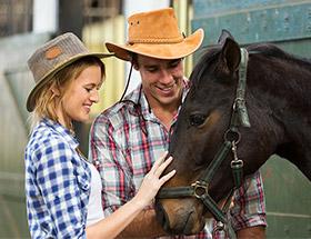 Farming couple patting a horse