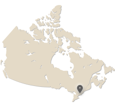 Map of Canada showing Ottawa