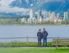 Couple looking out over the Vancouver skyline